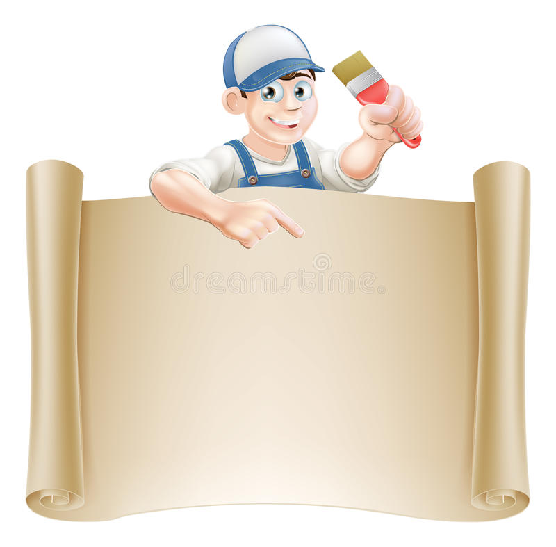 Paintbrush Guy And Scroll Royalty Free Stock Photography