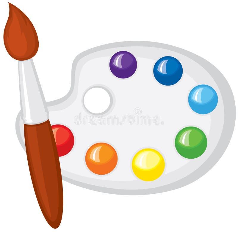 Paintbrush i paleta farby royalty ilustracja