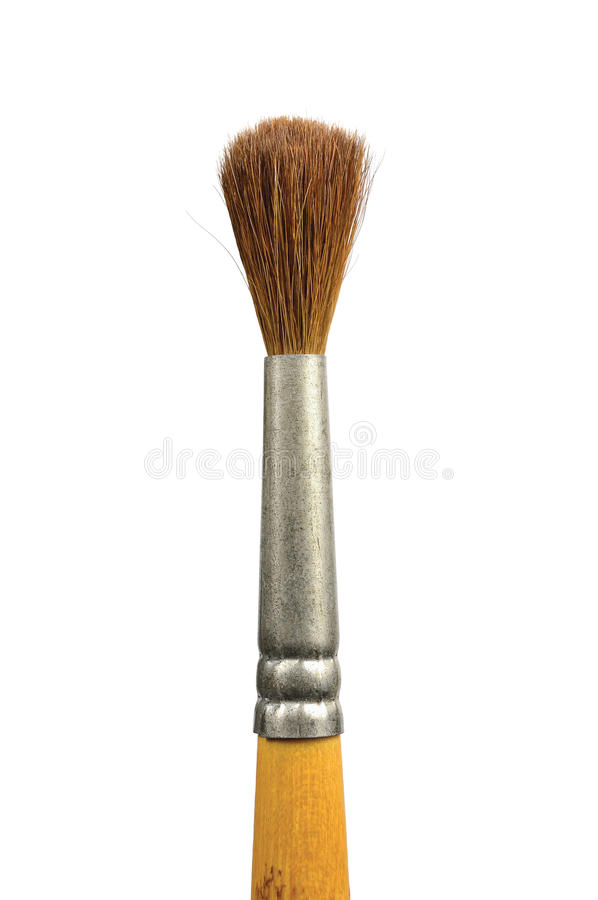 Paintbrush isolated old used paint squirrel brush. Paintbrush, isolated old used watercolor paint squirrel brush natural hair bristle macro closeup, vertical royalty free stock image