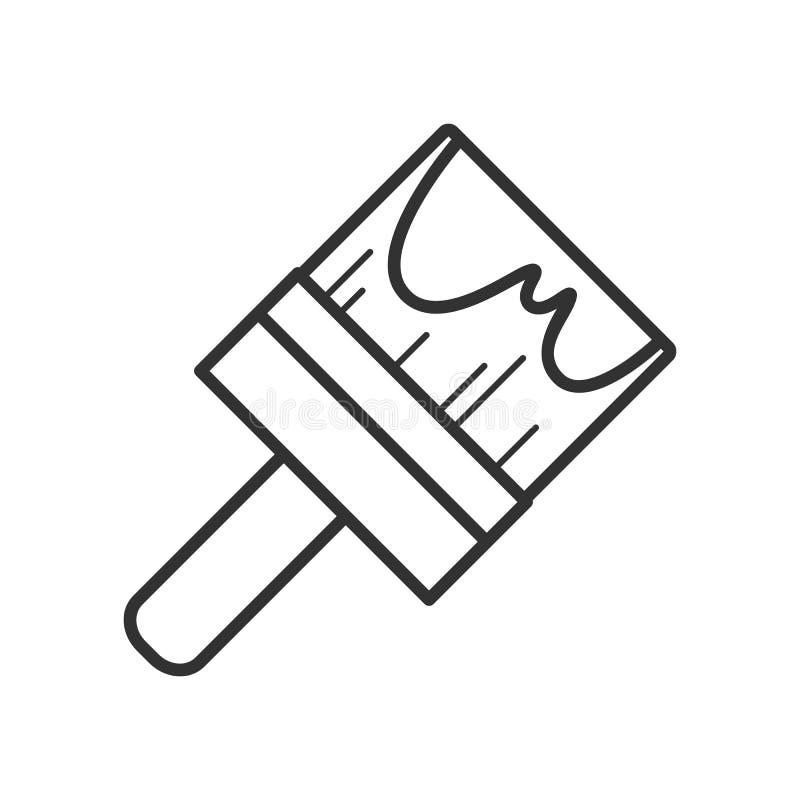 Paintbrush konturu Płaska ikona na bielu royalty ilustracja
