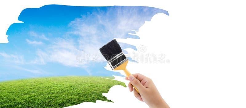 Paintbrush maluje naturę na białym odosobnionym tle fotografia royalty free