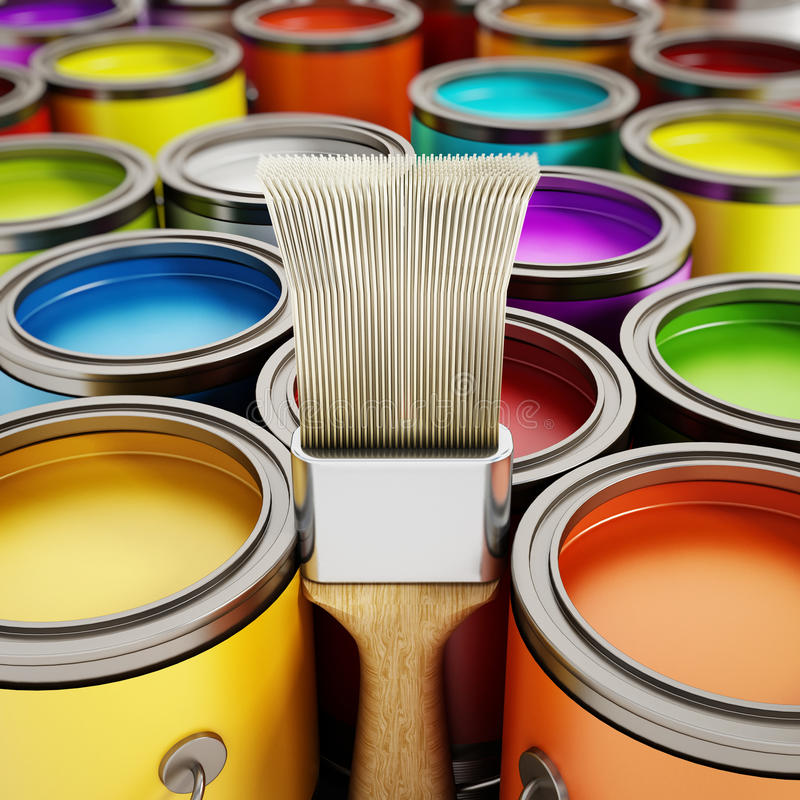 Paintbrush and paint cans stock illustration