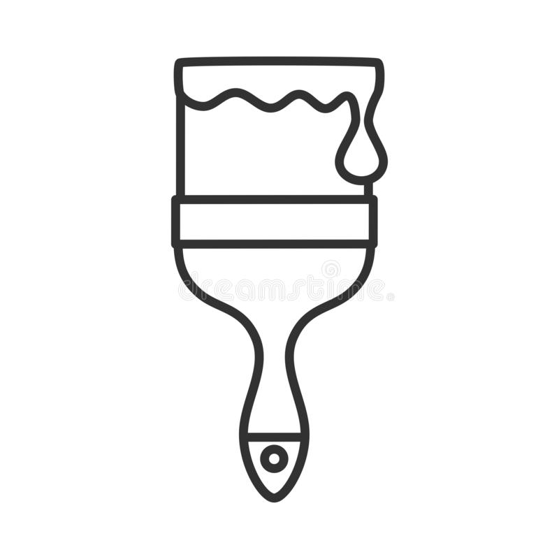 Paintbrush with Paint Outline Flat Icon vector illustration