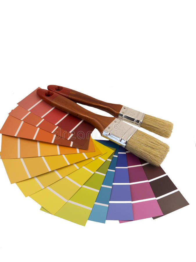 Paintbrush and swatches stock image