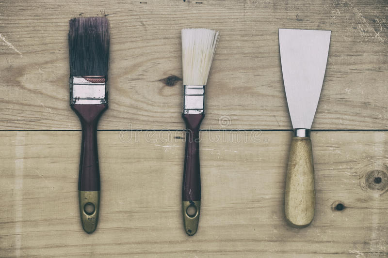 Download Paintbrush Tools On Wooden Background. Stock Photo - Image: 83708964