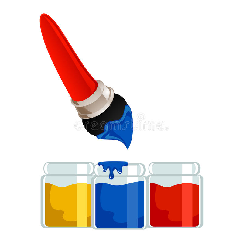 Free Paintbrush With Different Colors Of Paint Jar Stock Photos - 69098383