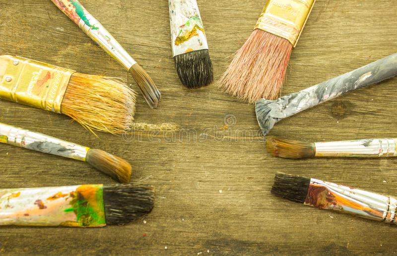 Paintbrushes closeup royalty free stock photography