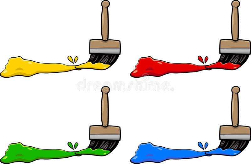 Paintbrushes with colors. Cartoon Illustration of Paintbrushes with Primary Colors Design Elements stock illustration