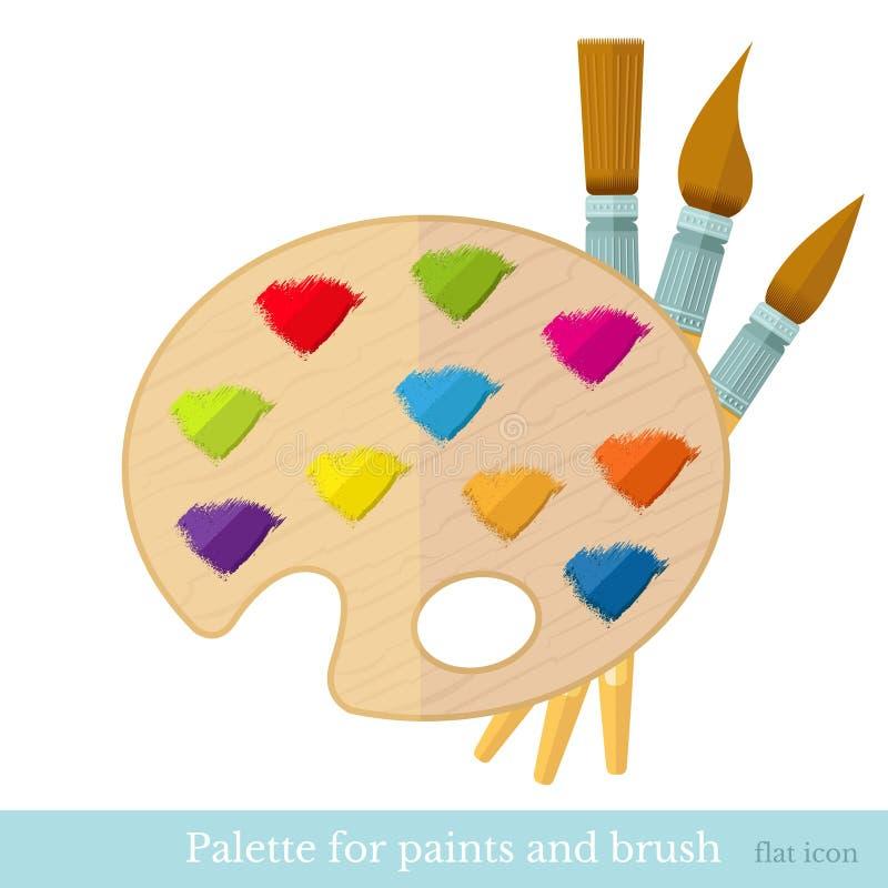 paintbrushs piani dell'icona con tutta la pennellata di colore sulla tavolozza illustrazione di stock