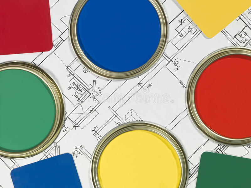Paintcans And Blueprint Royalty Free Stock Photos