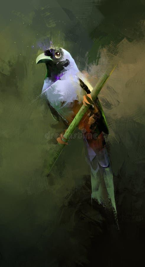 Painted坐的鸟 向量例证