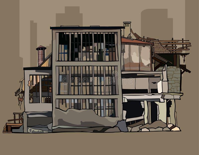 Painted毁坏了在废墟的三层的大厦 向量例证