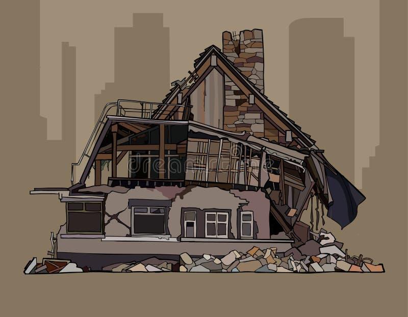 Painted毁坏了在废墟的二层的村庄 库存例证