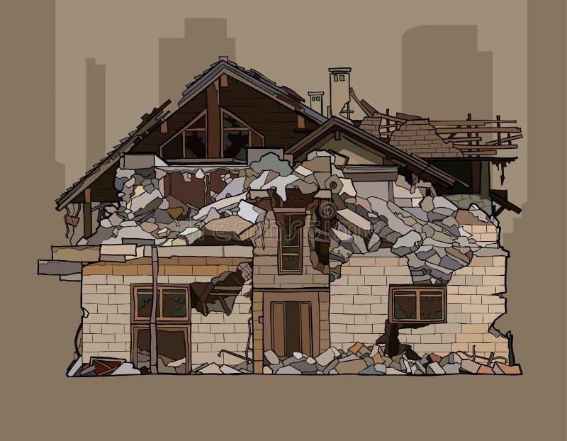 Painted破坏了二层的砖房子 库存例证