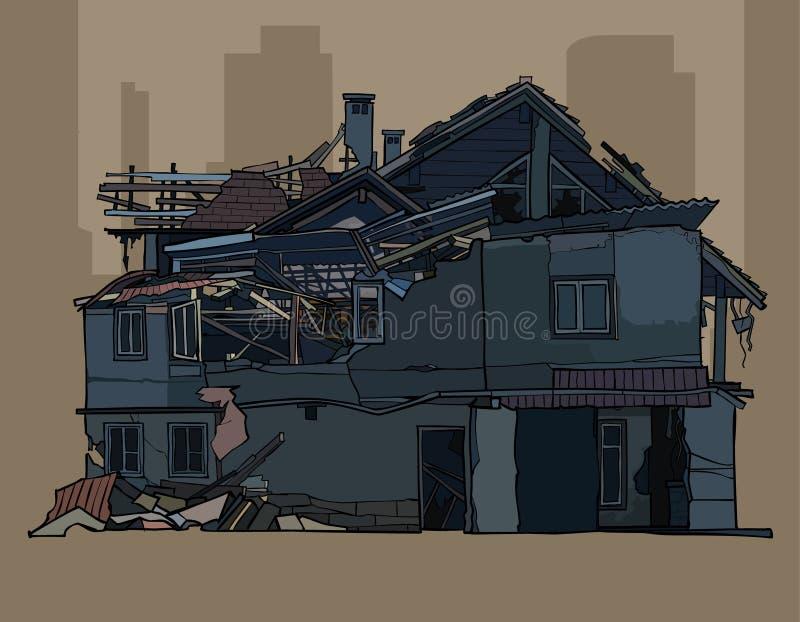 Painted破坏了二层的黑暗的房子 向量例证