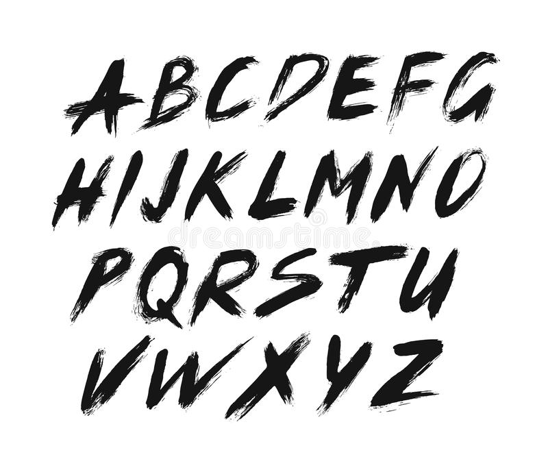 Painted ABC Font Brush Strokes Stock Vector