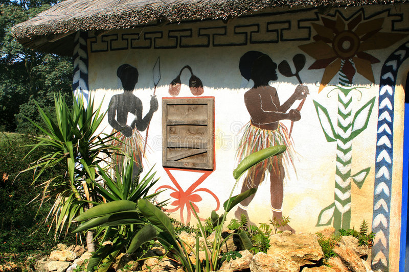 Painted African house stock photography