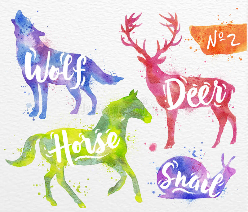 Painted animals deer stock illustration