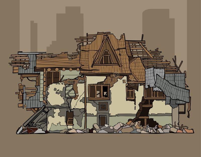 Painted arruinou uma casa whitewashed dois andares ilustração do vetor