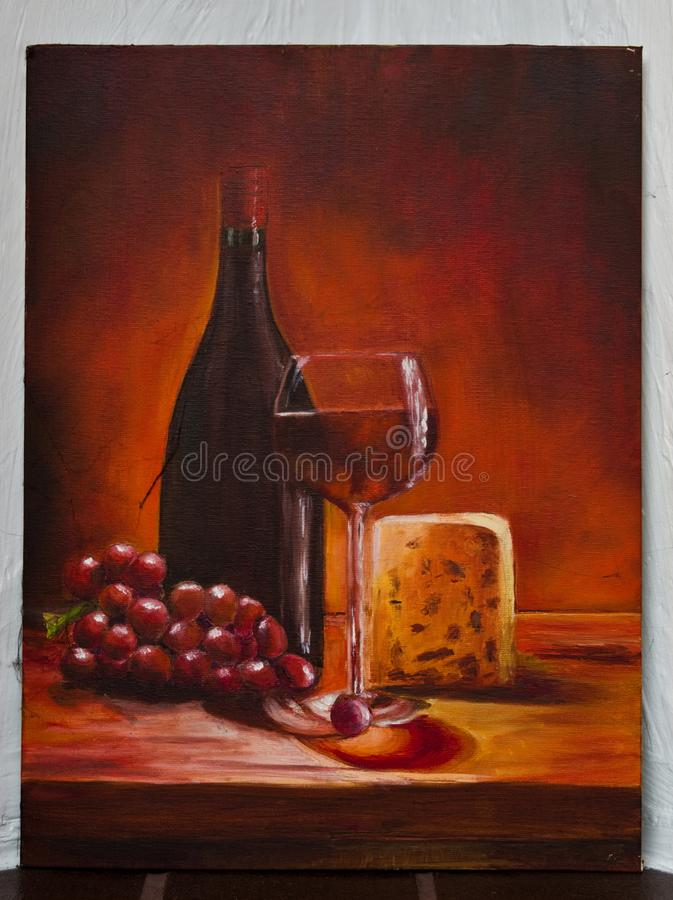 Painted artwork - abstract wine with cheese canvas vector illustration