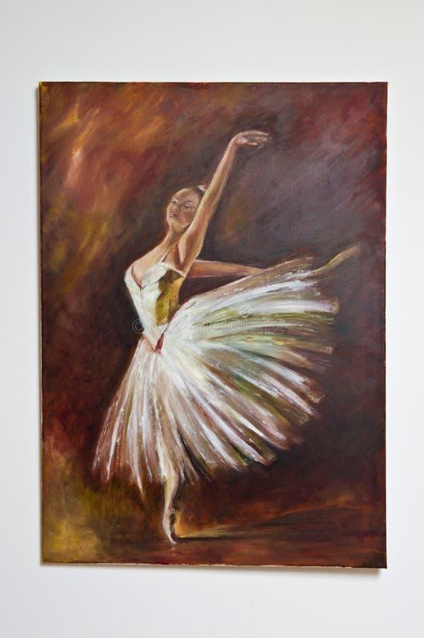 Painted artwork - ballet dancer woman stock photography