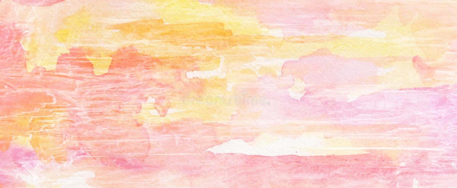 Painted background with old grunge cracked and grainy wood texture in pink yellow purple and orange vector illustration