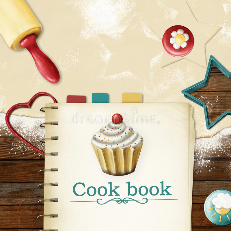 Painted baking background: dough, rolling pin, cookie cutters and cookbook with bookmarks vector illustration