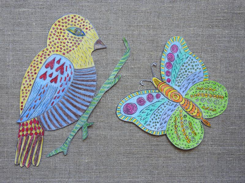 Painted bird and butterfly on linen fabric, Lithuania royalty free stock photography