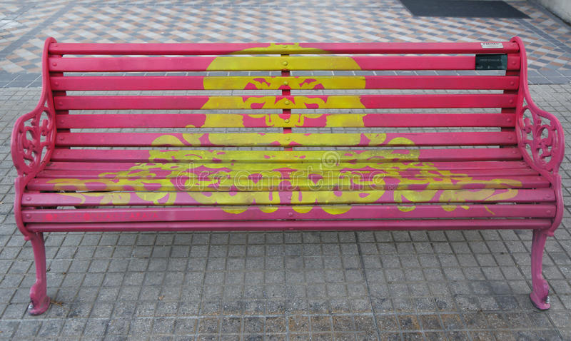 Painted Benches of Santiago in Las Condes, Santiago de Chile. SANTIAGO DE CHILE - APRIL 13, 2015: Painted Benches of Santiago in Las Condes, Santiago de Chile stock photo