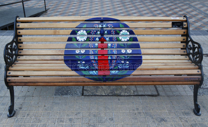 Painted Benches of Santiago in Las Condes, Santiago de Chile. SANTIAGO DE CHILE - APRIL 13, 2015: Painted Benches of Santiago in Las Condes, Santiago de Chile stock image