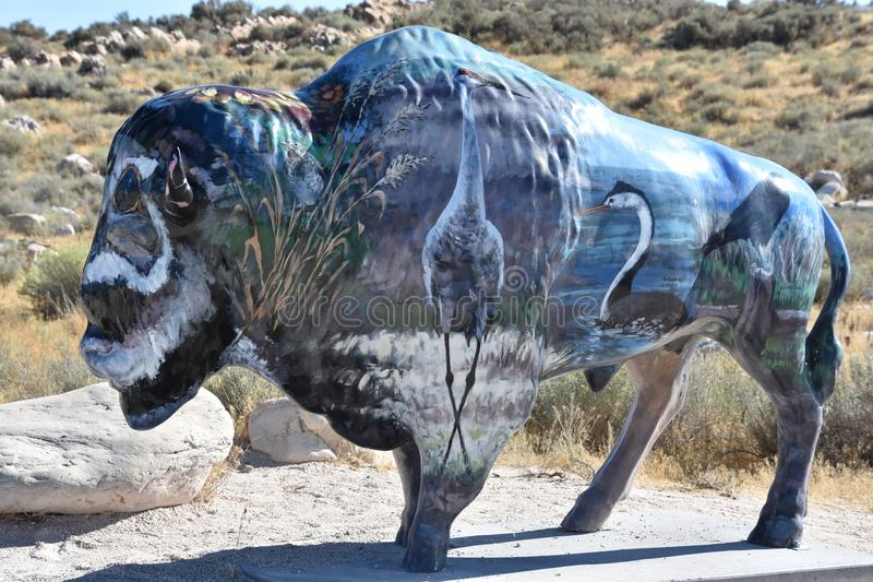 Painted bison from the 2002 Olympics in Syracuse, Utah royalty free stock photography