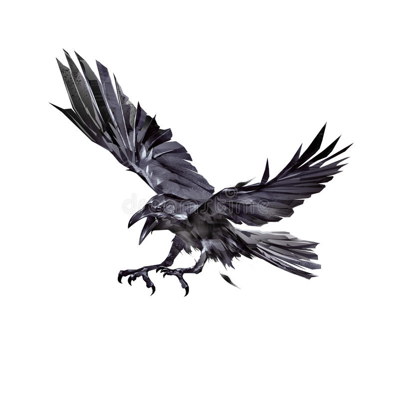 Painted black crows attacking stock illustration