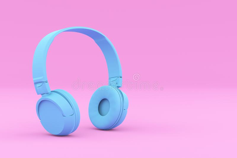 Painted Blue Headphones on Pink Background. Modern Painted Blue Headphones on Pink Background. Creative Design in Minimal Style. Trendy duotone effect. 3D render stock illustration