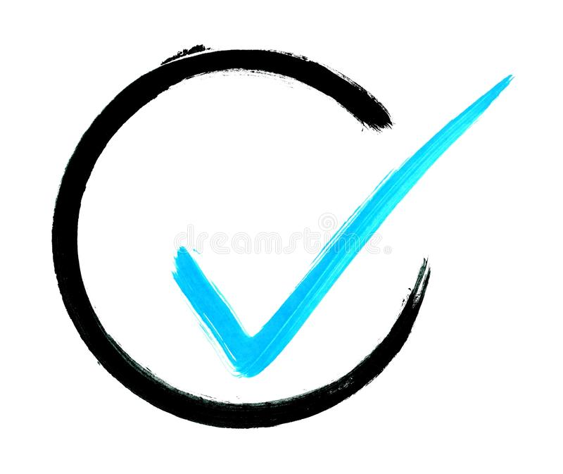 Painted blue tick in black circle royalty free illustration