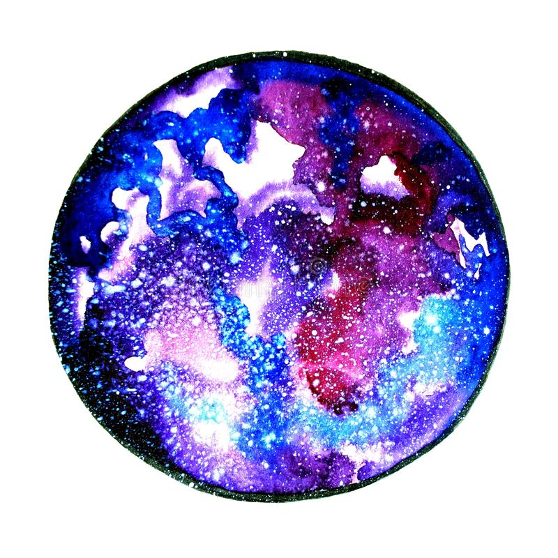 Painted blue universe watercolor royalty free illustration
