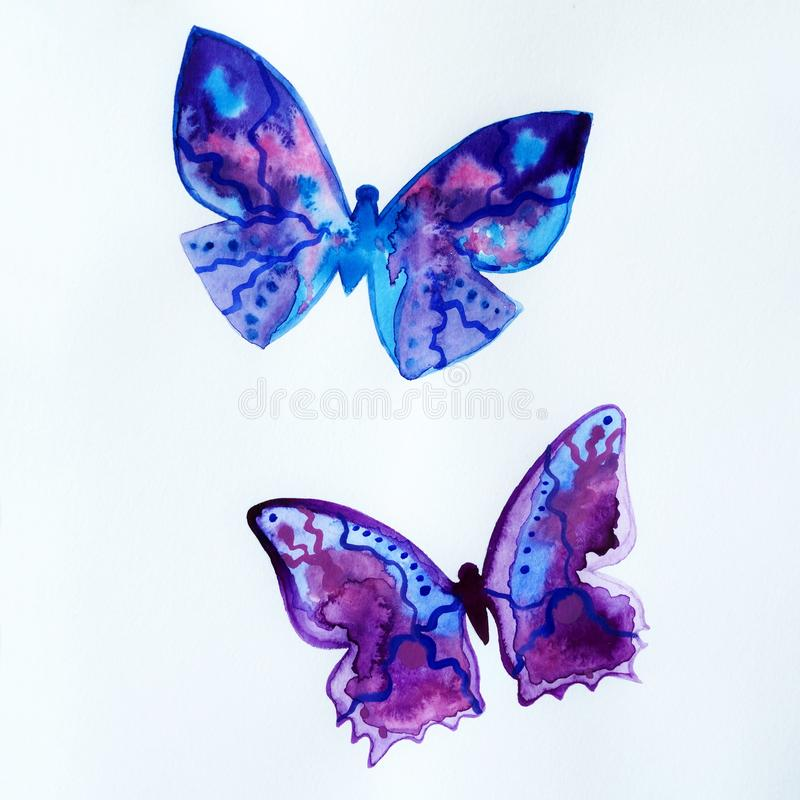 Painted blue universe watercolor, two butterflies royalty free illustration