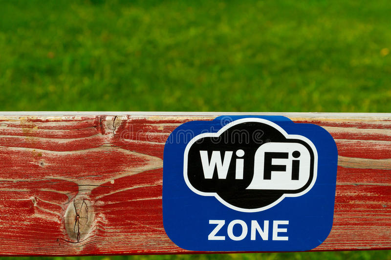 Painted board with WiFi logo stock photography