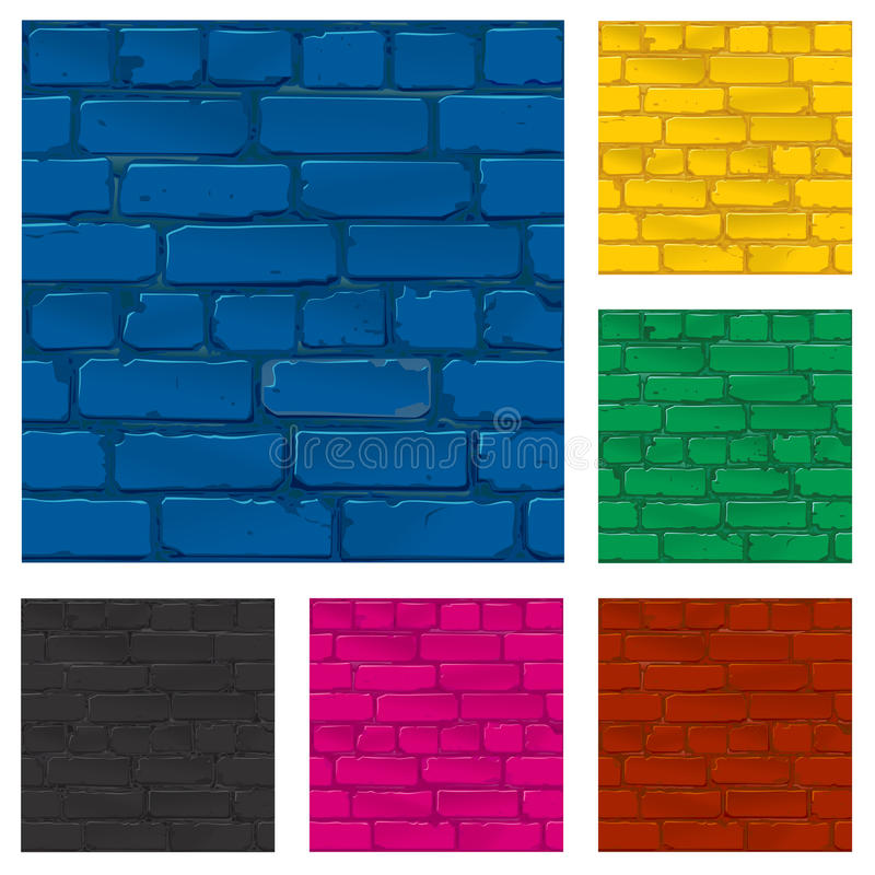 Painted brick wall texture, vector stock illustration