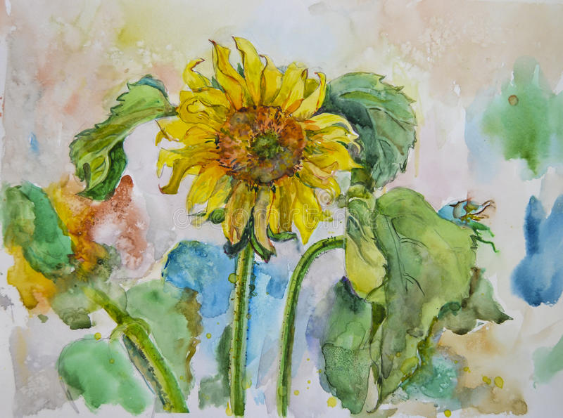 Painted bright beautiful picturesque yellow flowers of sunflowers by watercolor stock photos