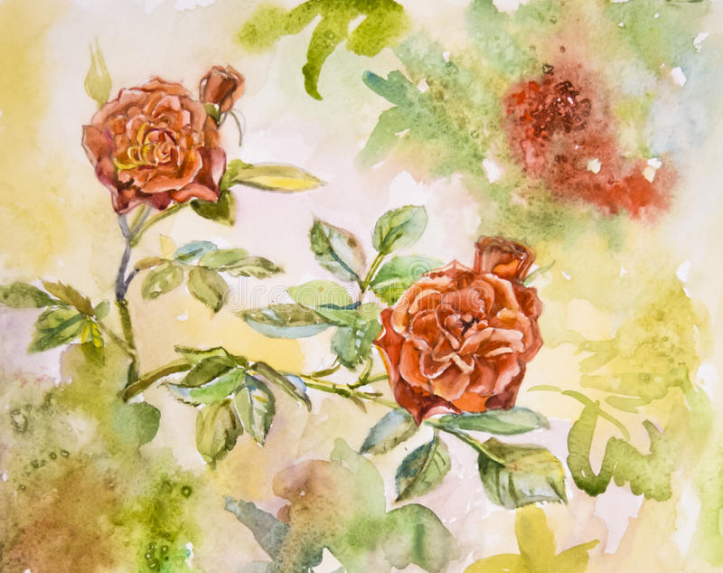 Painted bright beautiful scenic red flowers roses watercolor royalty free stock photo