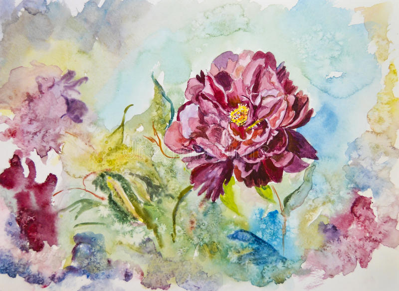 Painted bright beautiful scenic yellow flowers peonies watercolor royalty free stock images
