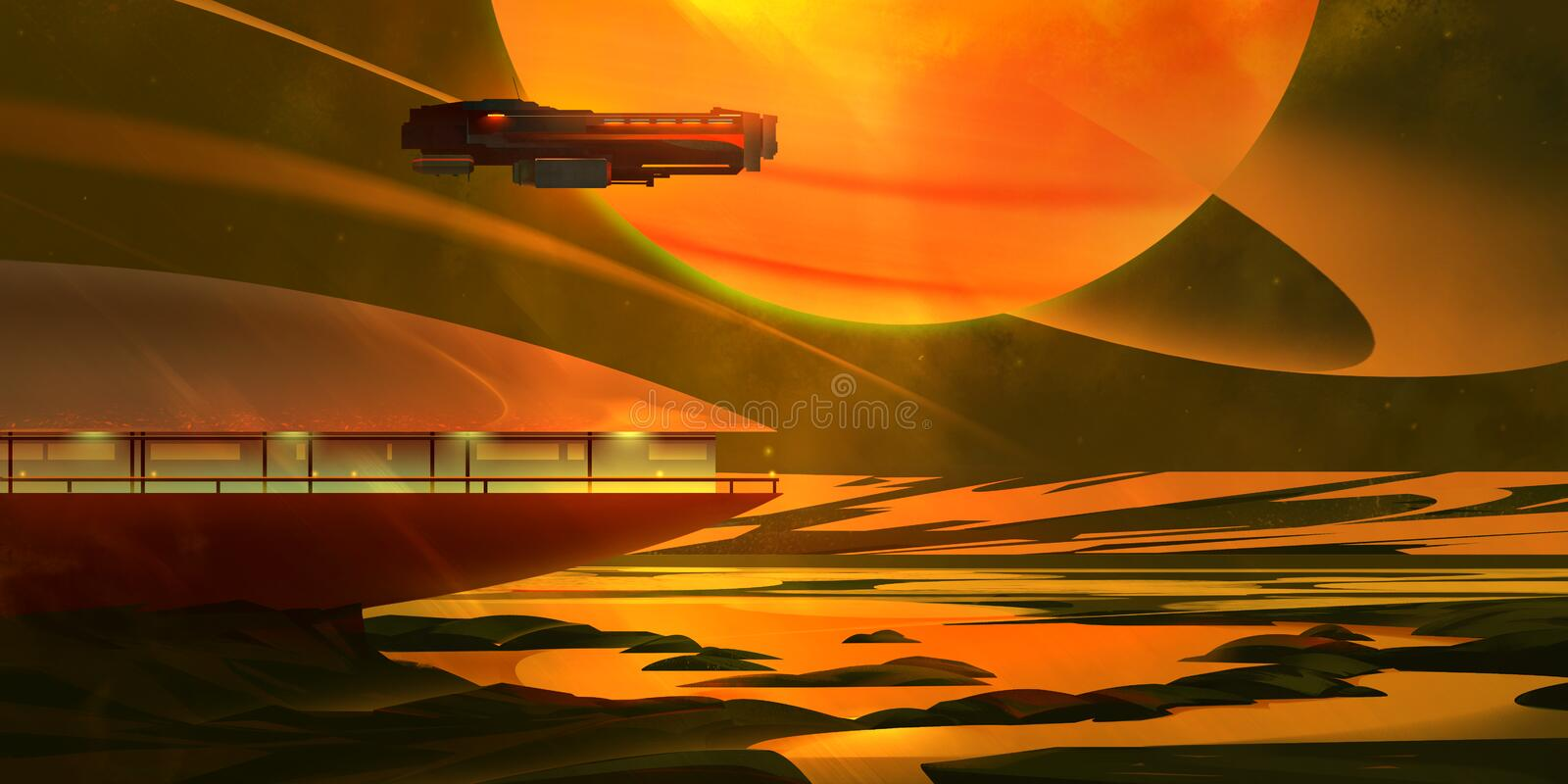 Painted bright fantastic dark landscape with a planet royalty free stock photos