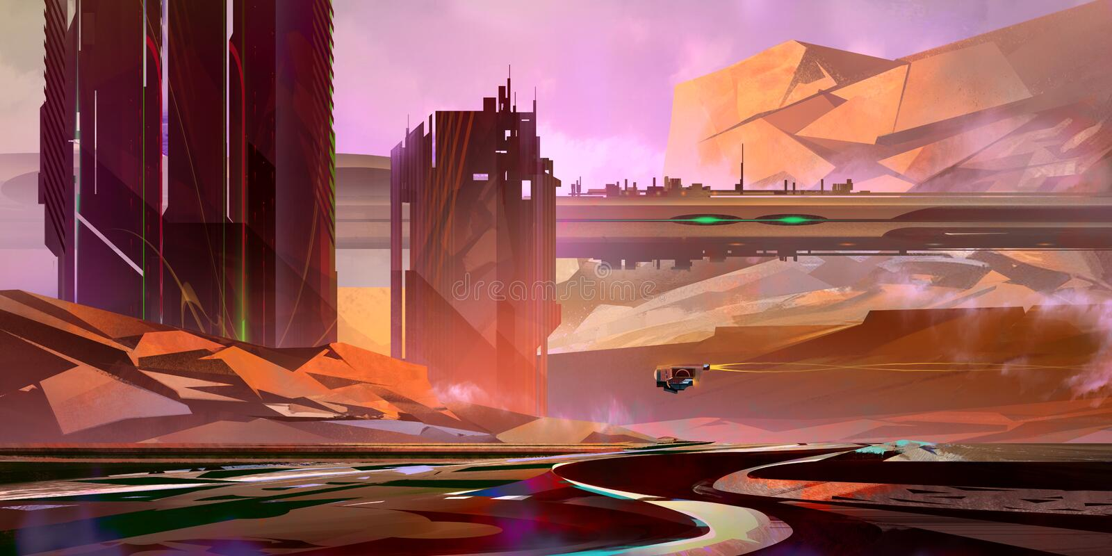 Painted bright fantastic landscape of the future in cyberpunk style royalty free stock photo
