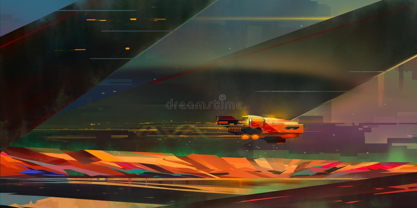 Painted bright landscape in the style of fantastic cyberpunk royalty free stock images