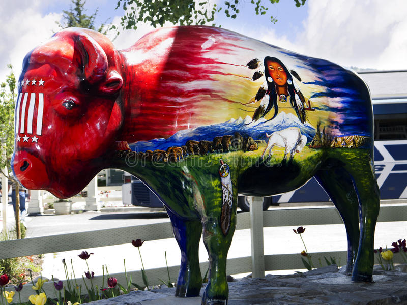 Painted Buffalo in Jackson Hole Wyoming. Jackson is a town located in the Jackson Hole Valley of Teton County, Wyoming, United States. The population was 8,647 royalty free stock photography