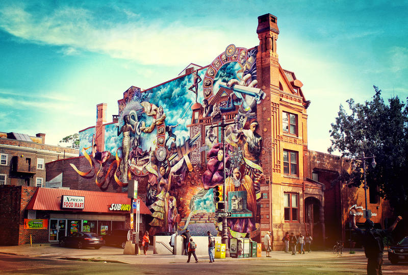 Painted building in Philadelphia. View of the painted building in Philadelphia. Pennsylvania. USA royalty free stock image