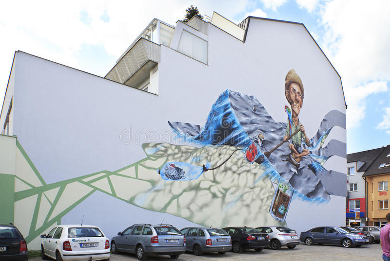 Painted building in the town Benesov stock images