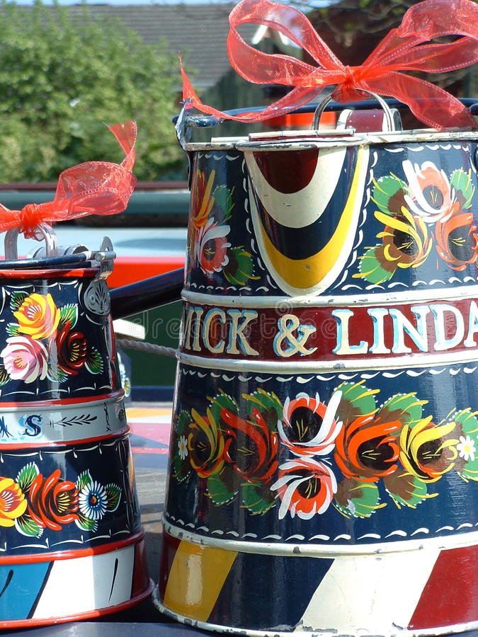 Painted Canal Ware - Buckets. Painted Canal Ware of buckets with names. Narrow boat traditional royalty free stock images