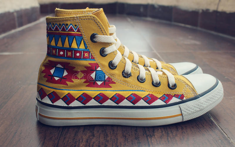 Painted Canvas Shoes royalty free stock photography