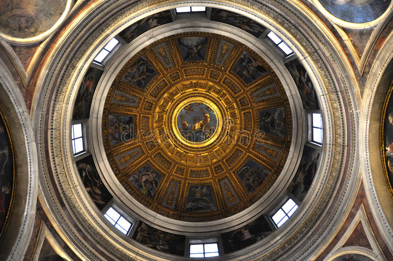Painted ceiling of the dome of Santa Maria del Popolo basilica. ROME, ITALY - MARCH 14, 2016: The ceiling of the dome of the Basilica of Santa Maria del Popolo stock photography